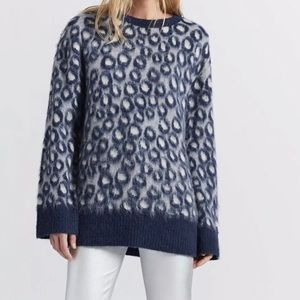 Current/Elliott Animal Print Oversized Sweater